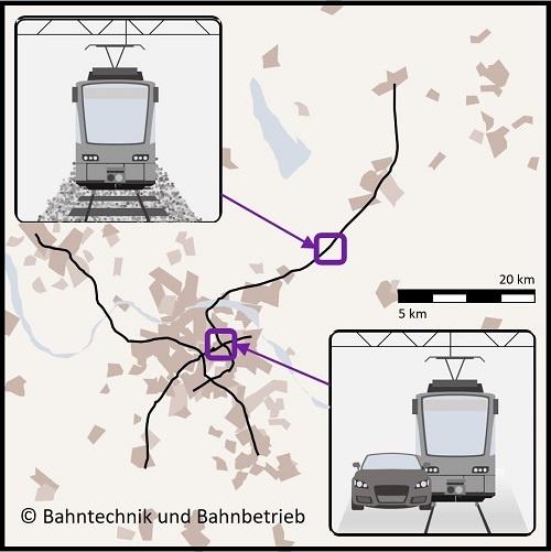 Regionalstraßenbahnnetz, Karten, Bahntechnik, Bahnbetrieb